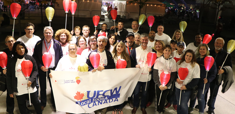 Join Ontario's best union at Light the Night Fundraising events for Leukemia Research.