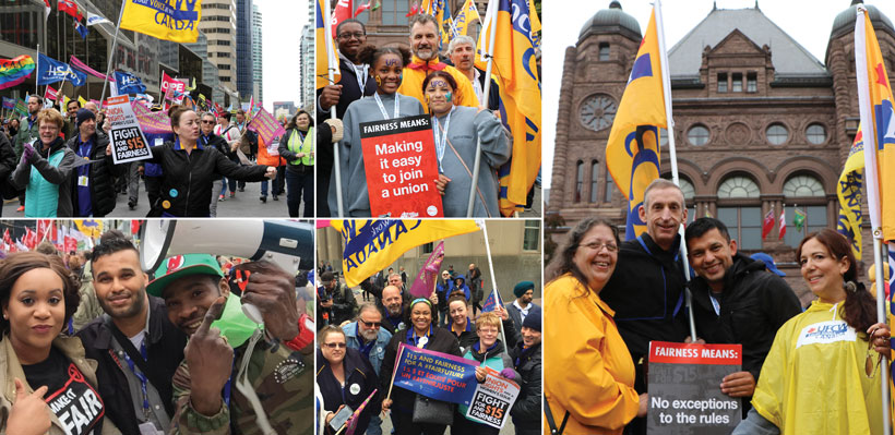 Local 1006A members advocate for a $15 minimum wage and fairer labour legislation.