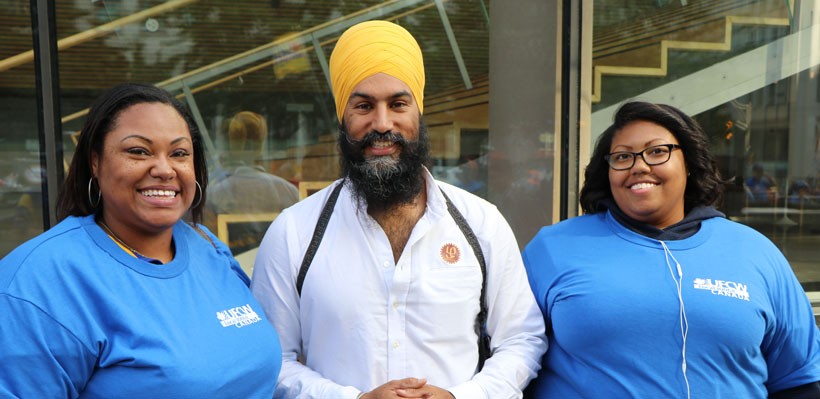 Jagmeet with Stewards at Labour Day Parade.
