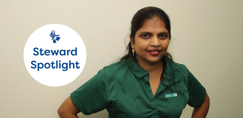 Union Steward Sheela prides herself in helping he coworkers at Unifirst.
